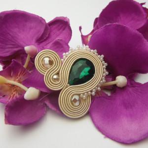 Pierścionek duży zielony szmaragdowy kryształowy