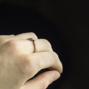 Pierścionek mokume gane z czarnym diamentem