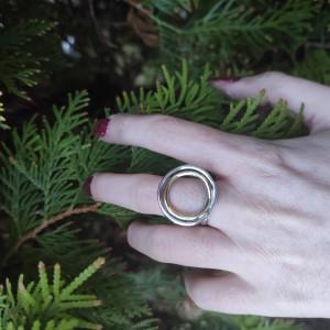 Pierścionek podwójne koło srebro i mosiądz