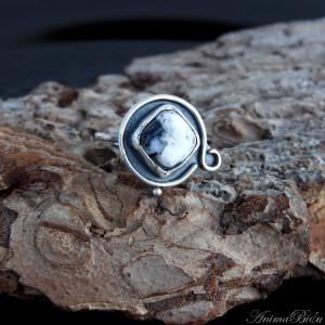 Pierścionek srebrny z agatem dendrytowym