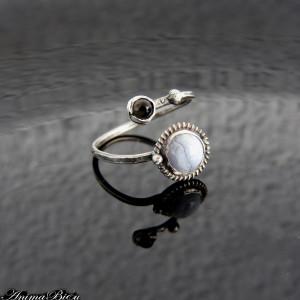 Pierścionek srebrny z agatem i obsydianem