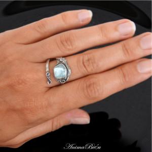 Pierścionek srebrny z akwamarynem