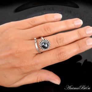 Pierścionek srebrny z hematytem