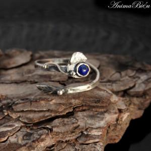 Pierścionek srebrny z lapis lazuli listek