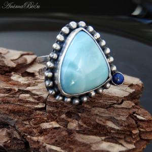 Pierścionek srebrny z larimarem i lapis lazuli