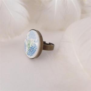 Pierścionek z porcelanowym kaboszonem w kwiatki 1