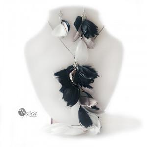 Pierzasty komplet - biało-czarny