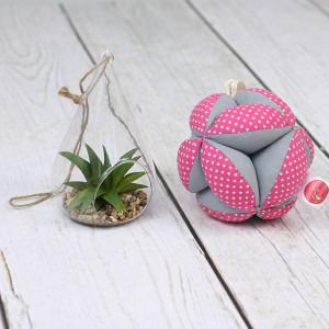 Piłeczka puzzlowa Takane-kropeczki różowe+szary