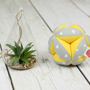 Piłeczka puzzlowa Takane-serduszka szare+żółty
