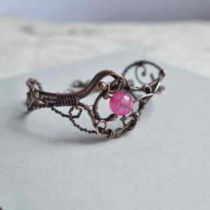 Pink agate - bransoletka miedziana z agatem