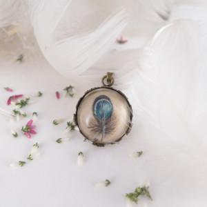 Piórko, miniatura, Ręcznie malowany naszyjnik