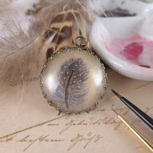 Ręcznie malowany naszyjnik z piórkiem, miniatura