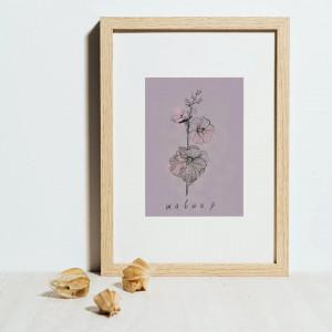 Plakat obraz ręcznie rysowany botaniczny Malwa