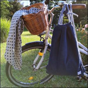 Plecak - worek - granatowy sztruks