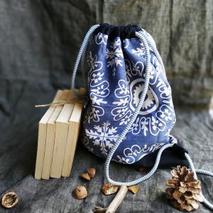 Plecak - worek - niebieski ornament