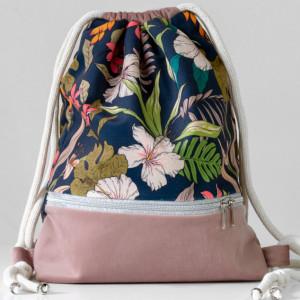 Plecak worek - ogród na granacie