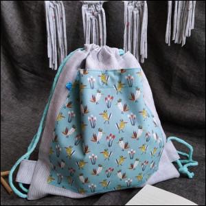 Plecak worek - ptaszki + len w paseczki