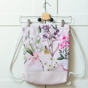 Plecak worek wodoodporny Kwiatki kieszonka
