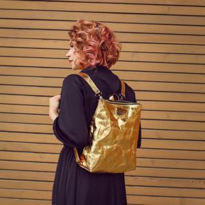 Plecak z papieru -ecofriendly [złoty połysk]