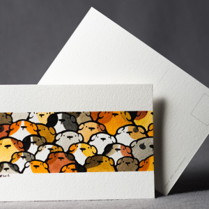 Pocztówka świnki morskie ręcznie malowana