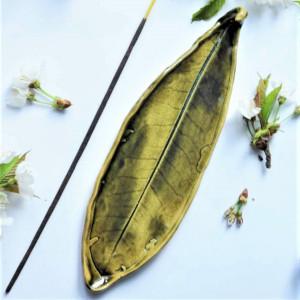 Podstawka Talerz liść na kadzidła zielone moro