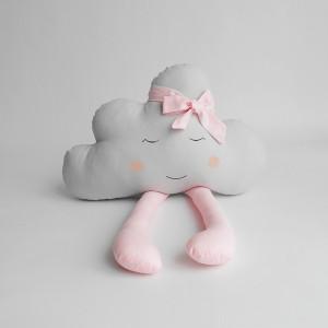 Szara podusia chmurka z różowymi nóżkami