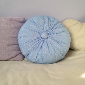 Poduszka Blue Dotted Dream z koronką, dwustronna