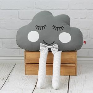 Poduszka chmurka z muszką - szara