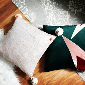 Poduszka dekoracyjna, aksamit butelkowa zieleń
