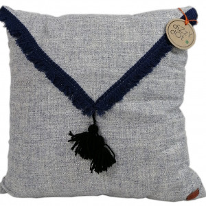 Poduszka dekoracyjna,niebieski melange z frędzlami
