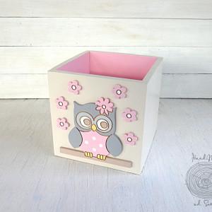 Pojemnik na kredki dla dziecka z sową