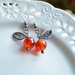 Pomarańczki - kolczyki z agatami