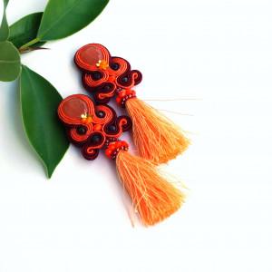 Pomarańczowe kolczyki sutasz z chwostem