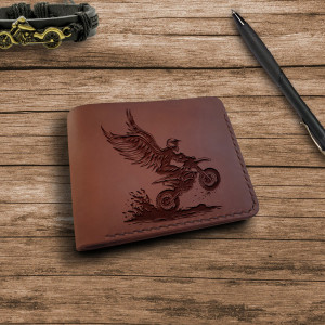 Portfel z motocyklem  Skórzany ręcznie robiony