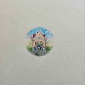 Portret rodzinnego domu, recznie malowany