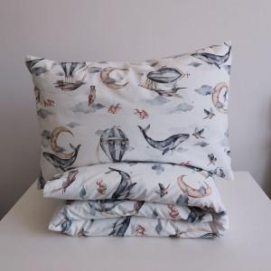 pościel bawełna premium wieloryby 90x120 40x60