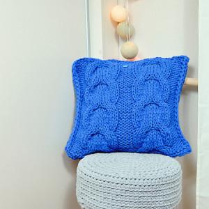Poszewka na poduszkę chabrowa, warkocz, niebieska