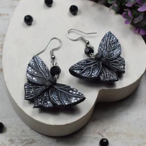 Przepiękne kolczyki czarne motyle