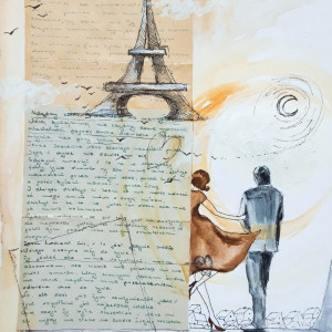 """""""PRZEZNACZENIE"""" collage, kolaż, stary list miłosny"""