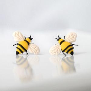 Pszczoły - designerskie kolczyki wkręty