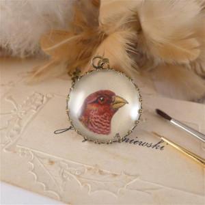Ptak. Ręcznie malowany naszyjnik, mini