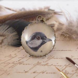 Ptak. Ręcznie malowany naszyjnik, miniatura