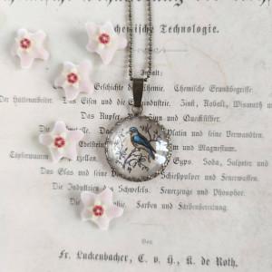 Ptak ze starej ryciny ręcznie malowany naszyjnik