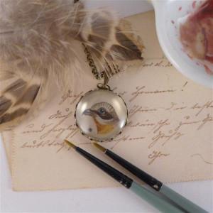 Ptak.,Ręcznie malowany naszyjnik, miniatura