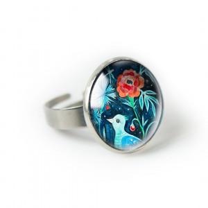 Ptaszek pierścionek z ilustracją