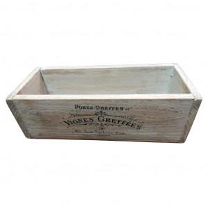 Pudełko drewniane. Francuski napis.