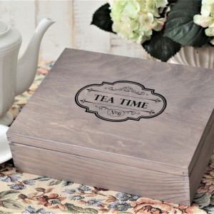 Pudełko na herbatę - 12 komorowe - Vintage