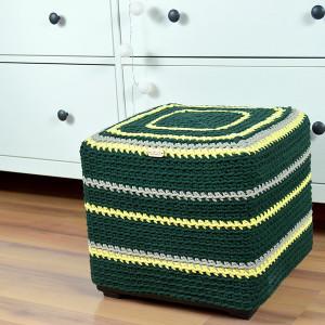 Puf, kubik, pufa zielono-żółta twarda