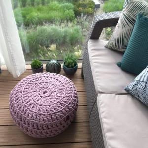 Pufa ze sznurka bawełnianego różowa