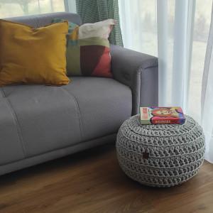 Pufa ze sznurka bawełnianego szara